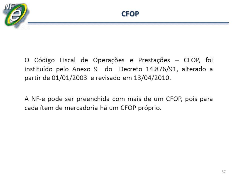 37 CFOP O Código Fiscal de Operações e Prestações – CFOP, foi instituído pelo Anexo 9 do Decreto 14.876/91, alterado a partir de 01/01/2003 e revisado