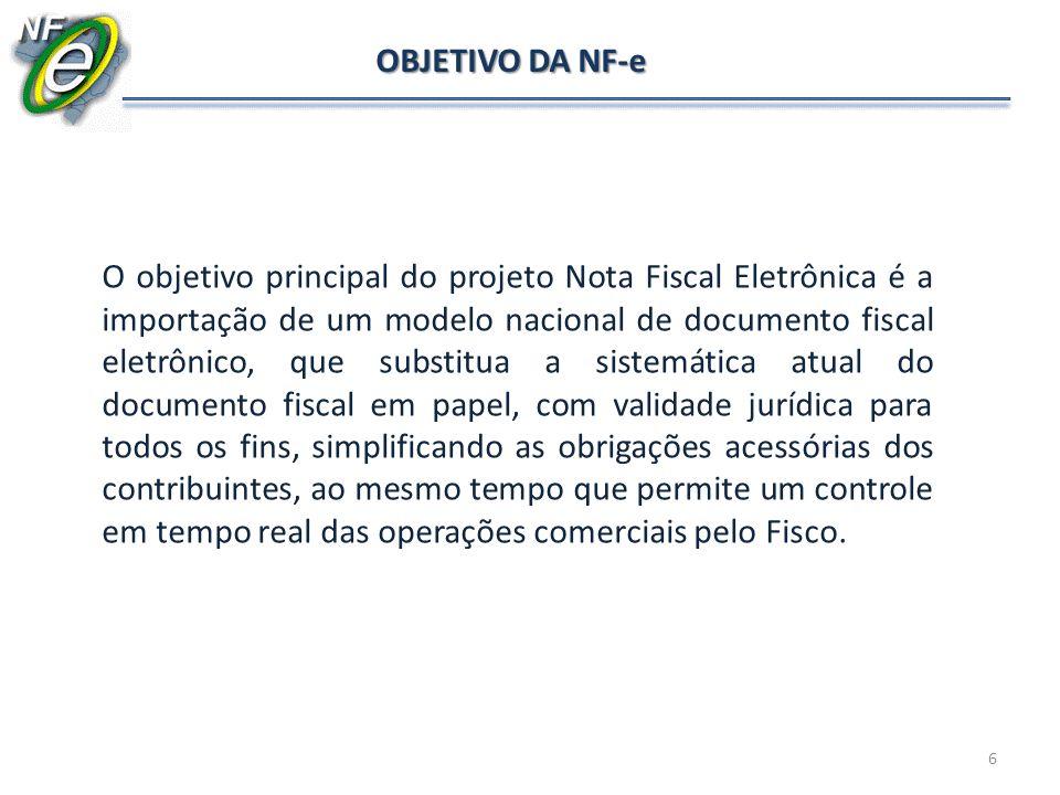 OBJETIVO DA NF-e O objetivo principal do projeto Nota Fiscal Eletrônica é a importação de um modelo nacional de documento fiscal eletrônico, que subst