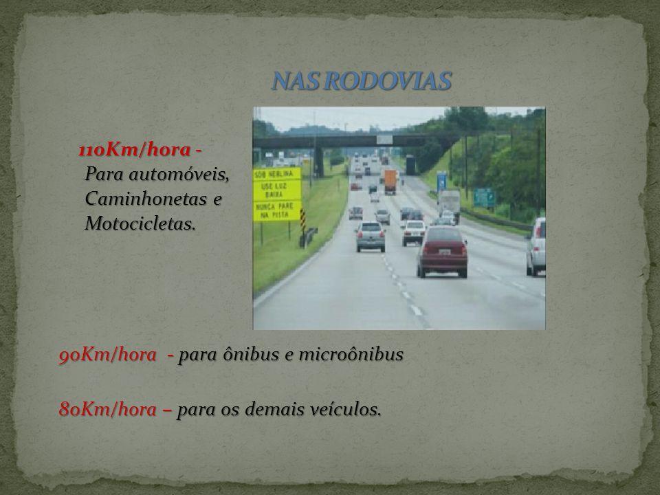 NAS VIAS URBANAS Vias de trânsito rápido. 80KM/Hora Vias arteriais. 60KM/Hora Vias coletoras. 40KM/Hora Vias locais. 30KM/Hora