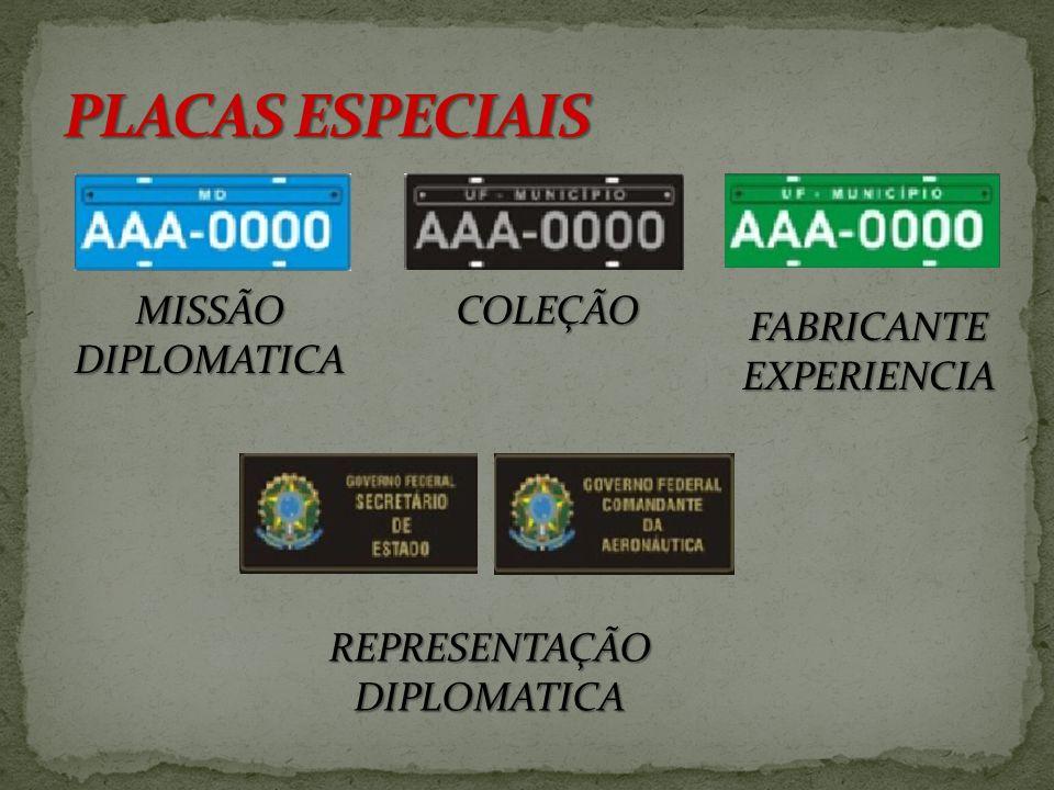 PARTICULAR – Fundo cinza com letras e números pretos ALUGUEL – Fundo vermelho com letras e números brancos. OFICIAL – Fundo branco com letras e número