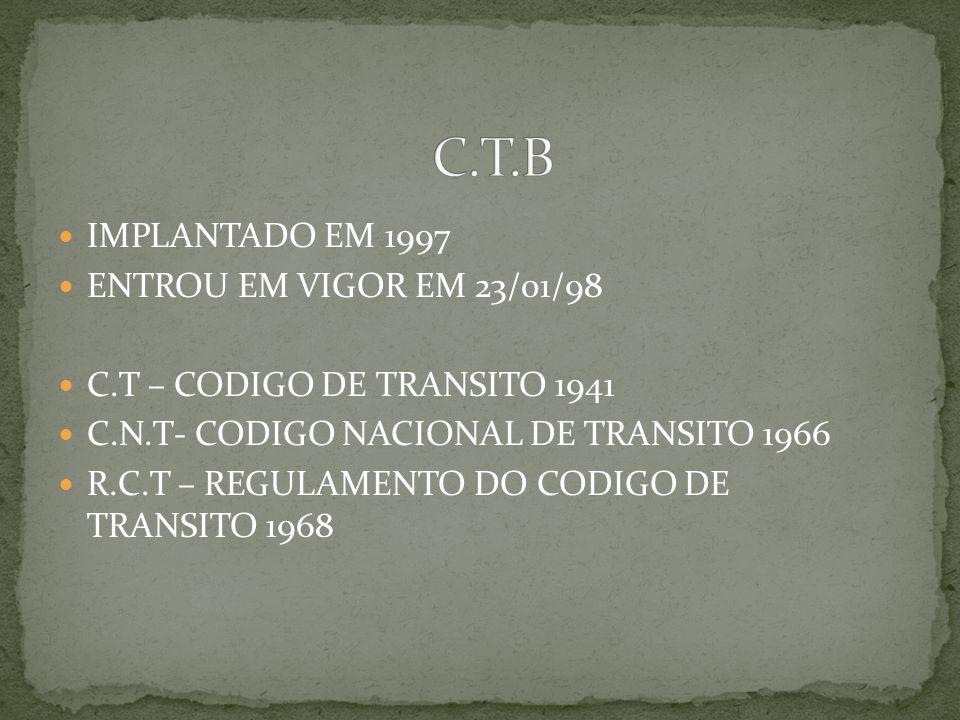 IMPLANTADO EM 1997 ENTROU EM VIGOR EM 23/01/98 C.T – CODIGO DE TRANSITO 1941 C.N.T- CODIGO NACIONAL DE TRANSITO 1966 R.C.T – REGULAMENTO DO CODIGO DE TRANSITO 1968