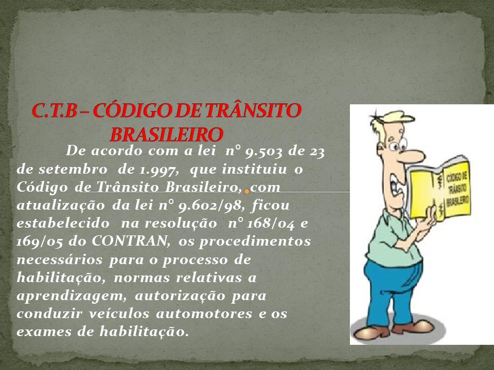 De acordo com a lei n° 9.503 de 23 de setembro de 1.997, que instituiu o Código de Trânsito Brasileiro, com atualização da lei n° 9.602/98, ficou estabelecido na resolução n° 168/04 e 169/05 do CONTRAN, os procedimentos necessários para o processo de habilitação, normas relativas a aprendizagem, autorização para conduzir veículos automotores e os exames de habilitação.