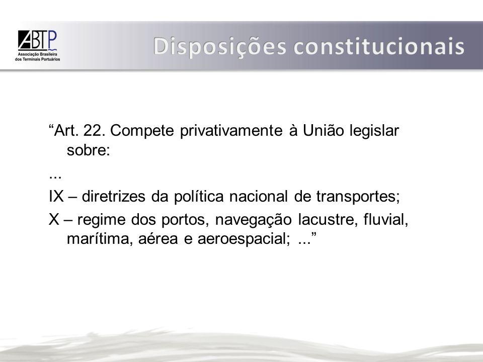 Art.22. Compete privativamente à União legislar sobre:...
