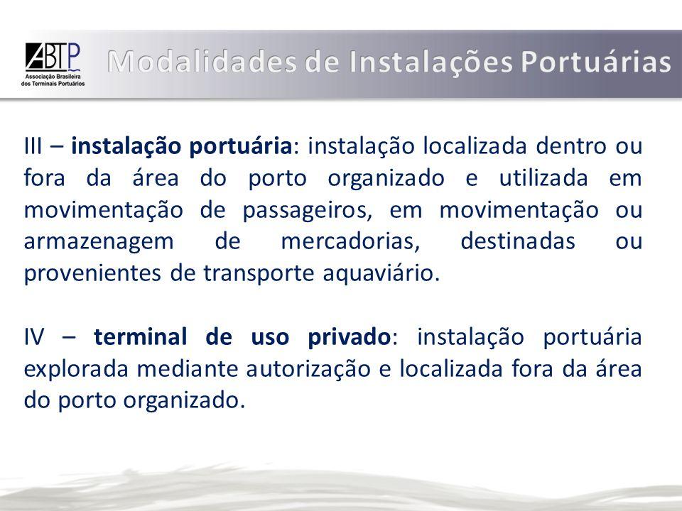 III – instalação portuária: instalação localizada dentro ou fora da área do porto organizado e utilizada em movimentação de passageiros, em movimentação ou armazenagem de mercadorias, destinadas ou provenientes de transporte aquaviário.