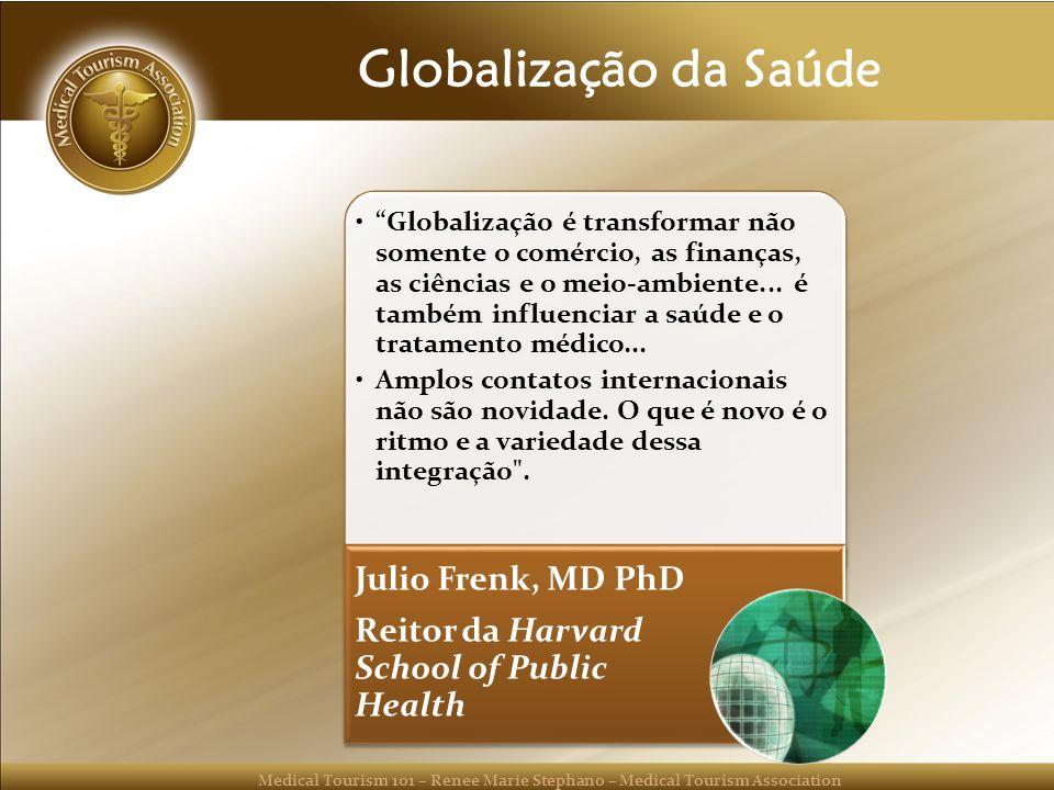 Medical Tourism 101 – Renee Marie Stephano – Medical Tourism Association Globalização da Saúde Globalização é transformar não somente o comércio, as finanças, as ciências e o meio-ambiente...