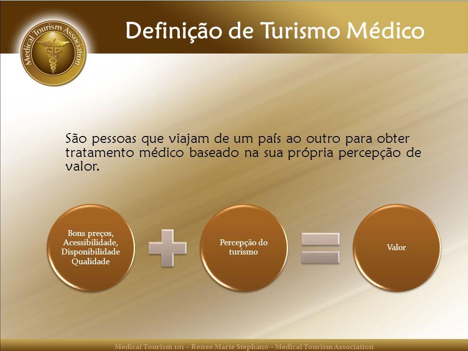 Medical Tourism 101 – Renee Marie Stephano – Medical Tourism Association Definição de Turismo Médico São pessoas que viajam de um país ao outro para obter tratamento médico baseado na sua própria percepção de valor.