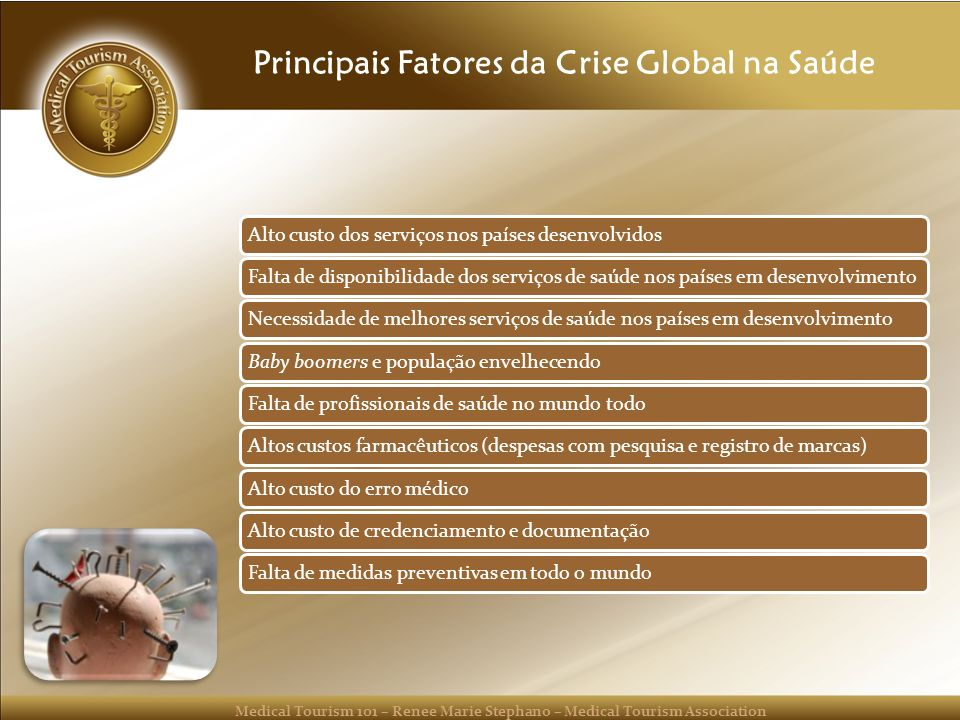 Medical Tourism 101 – Renee Marie Stephano – Medical Tourism Association Principais Fatores da Crise Global na Saúde Alto custo dos serviços nos paíse