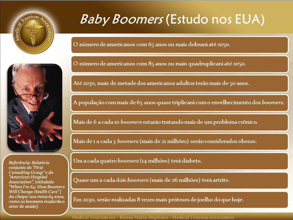 Medical Tourism 101 – Renee Marie Stephano – Medical Tourism Association Baby Boomers (Estudo nos EUA) O número de americanos com 65 anos ou mais dobr