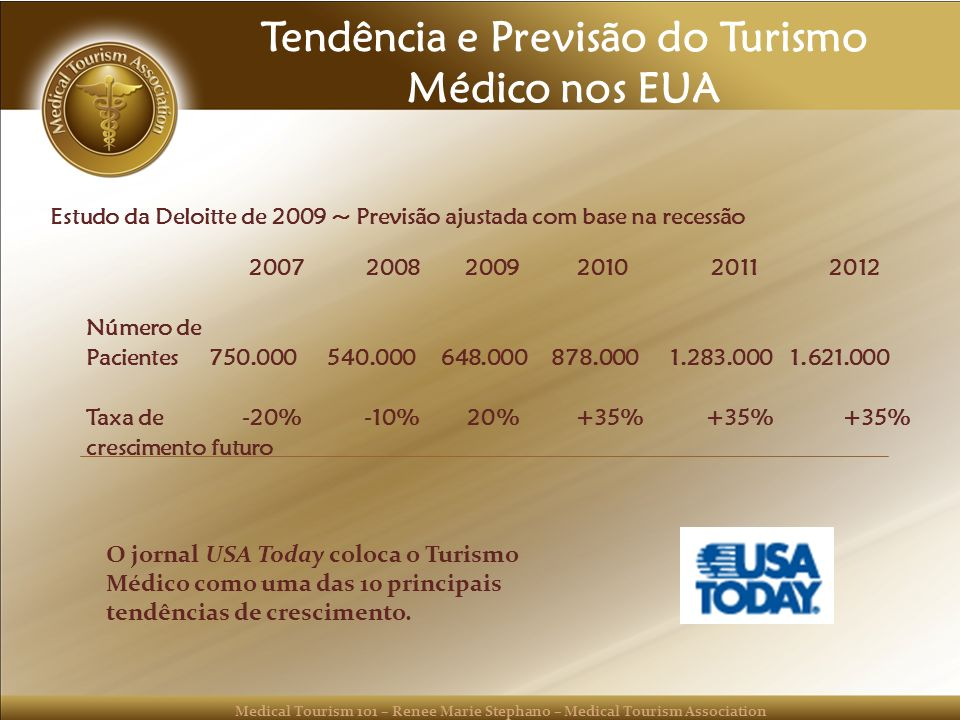 Medical Tourism 101 – Renee Marie Stephano – Medical Tourism Association Tendência e Previsão do Turismo Médico nos EUA Estudo da Deloitte de 2009 ~ P