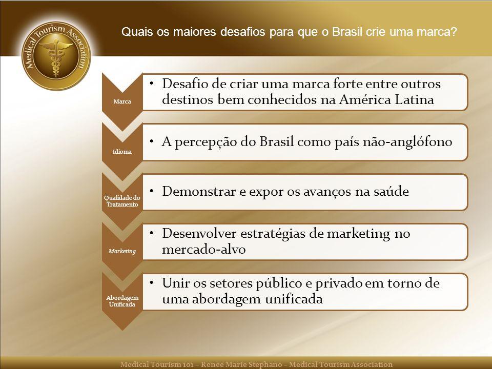 Medical Tourism 101 – Renee Marie Stephano – Medical Tourism Association Quais os maiores desafios para que o Brasil crie uma marca.