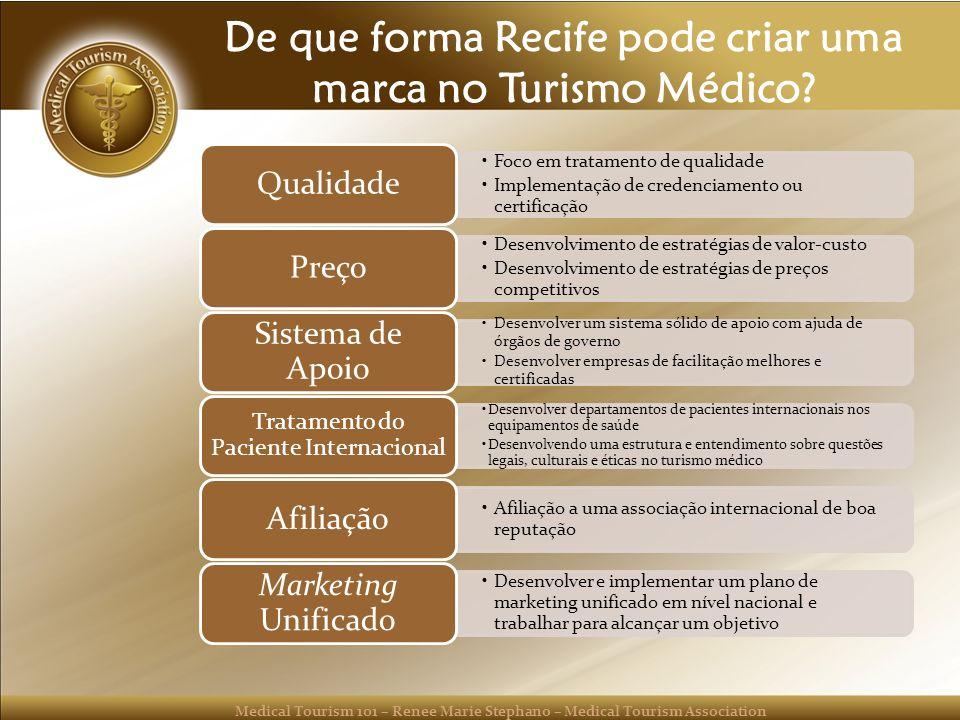 Medical Tourism 101 – Renee Marie Stephano – Medical Tourism Association De que forma Recife pode criar uma marca no Turismo Médico.