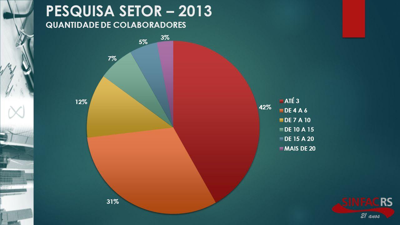 PESQUISA SETOR – 2013 QUANTIDADE DE COLABORADORES
