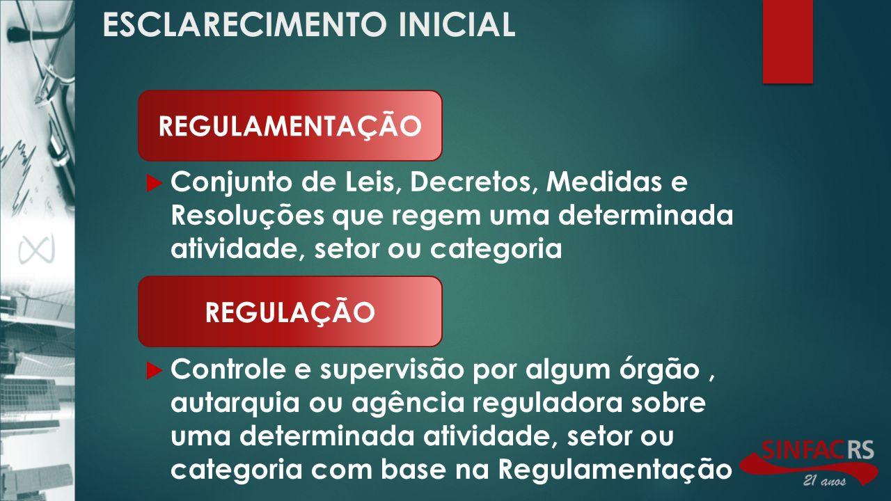 ADMINISTRADORAS DE CONSÓRCIO AGÊNCIAS DE TURISMO ÚLTIMOS SETORES ADMINISTRADORAS DE CARTÕES DE CRÉDITO SOCIEDADES DE FOMENTO MERCANTIL POSSÍVEIS A REGULAR SECURITIZADORAS DE RECEBÍVEIS SETORES REGULADOS