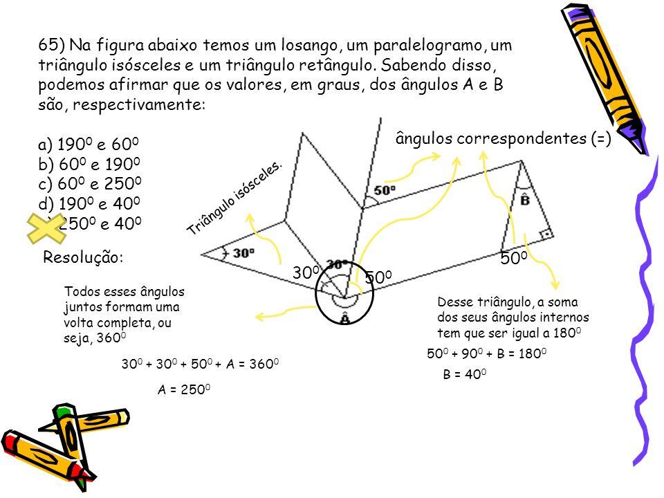 69) O ângulo x, na figura a seguir, mede: a) 60° b) 80° c) 90° d) 100° e) 120° Esse arco mede 70 0, devido ao ângulo inscrito de 35 0 OBS: Perceba que esse arco também é formado pelo ângulo...