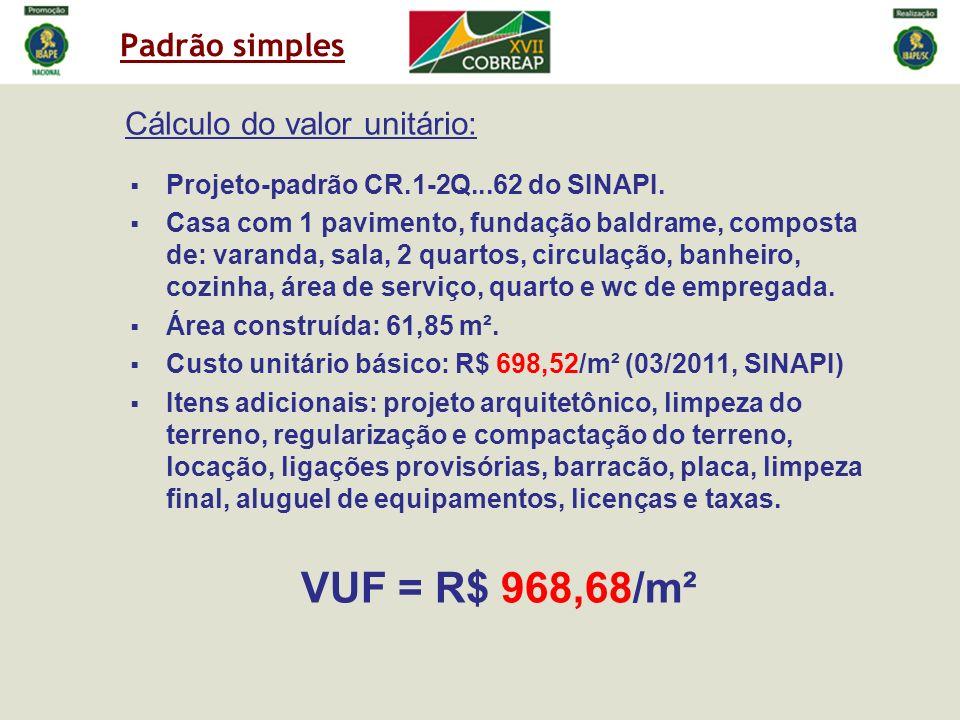 Padrão simples Cálculo do valor unitário: Projeto-padrão CR.1-2Q...62 do SINAPI. Casa com 1 pavimento, fundação baldrame, composta de: varanda, sala,