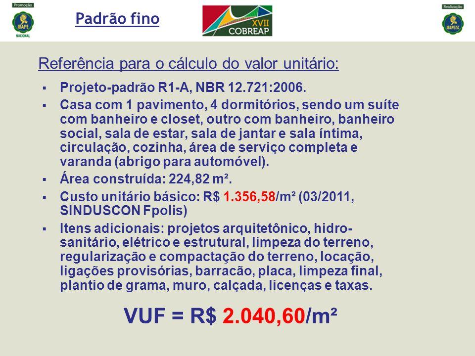 Referência para o cálculo do valor unitário: Projeto-padrão R1-A, NBR 12.721:2006. Casa com 1 pavimento, 4 dormitórios, sendo um suíte com banheiro e