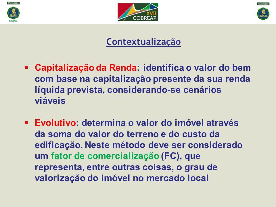 Contextualização Capitalização da Renda: identifica o valor do bem com base na capitalização presente da sua renda líquida prevista, considerando-se c