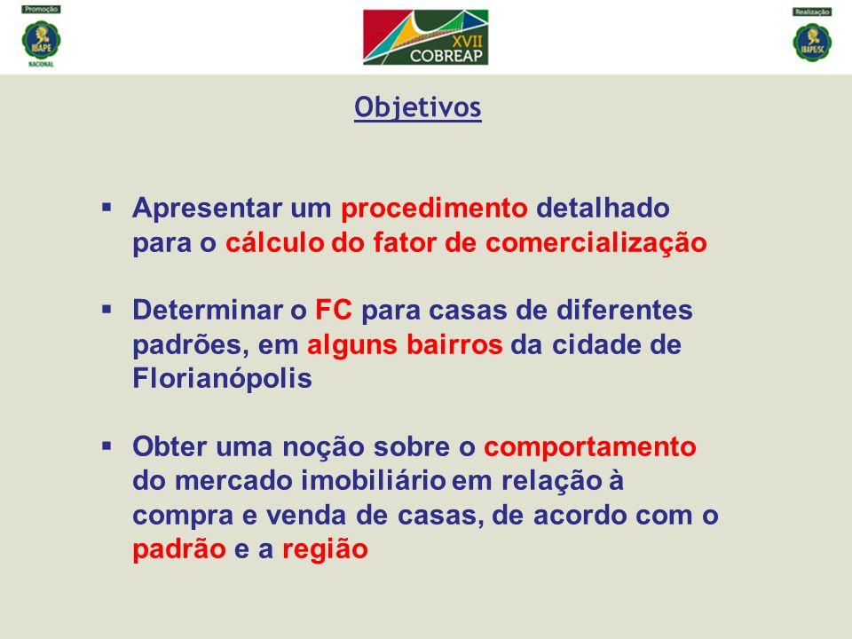 Apresentar um procedimento detalhado para o cálculo do fator de comercialização Determinar o FC para casas de diferentes padrões, em alguns bairros da