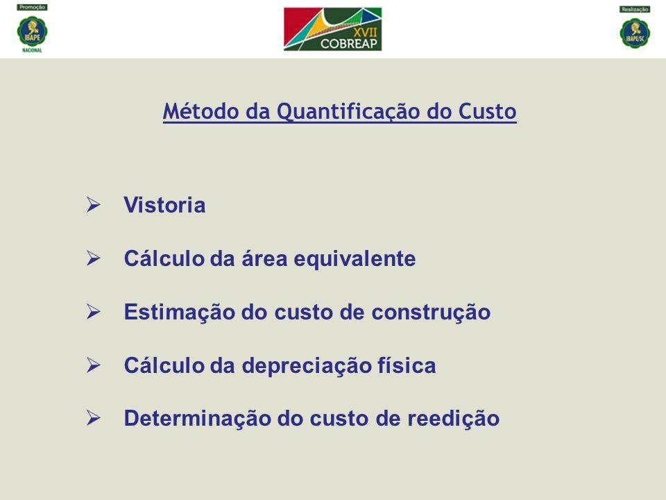 Cálculo da área equivalente Estimação do custo de construção A multiplicação de C pela área equivalente de construção resulta no custo de reprodução das benfeitorias (C rep ).