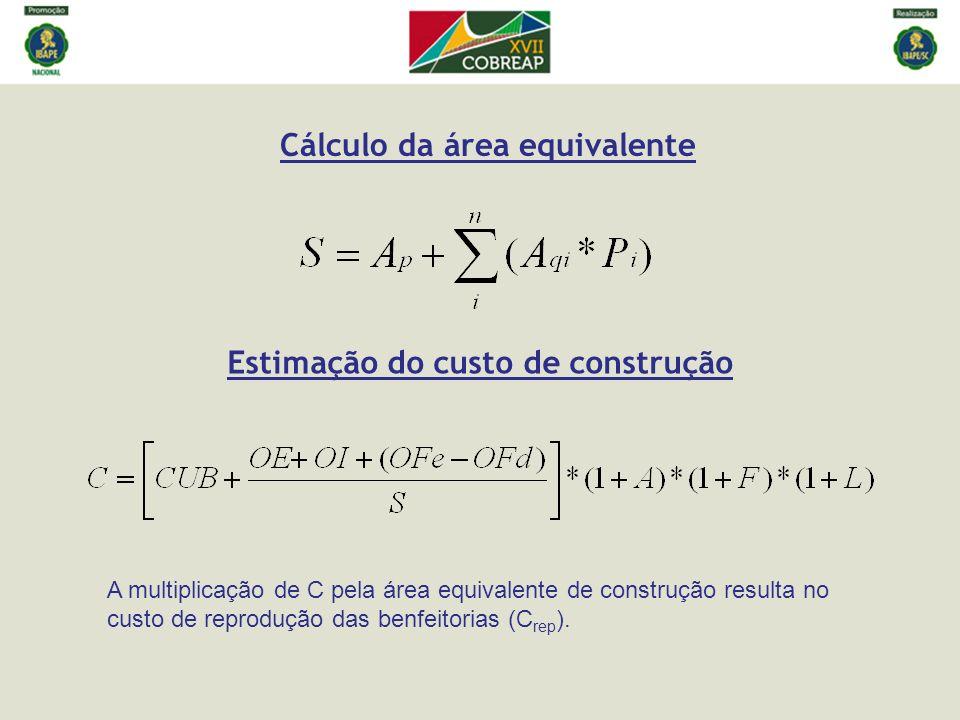 Cálculo da área equivalente Estimação do custo de construção A multiplicação de C pela área equivalente de construção resulta no custo de reprodução d