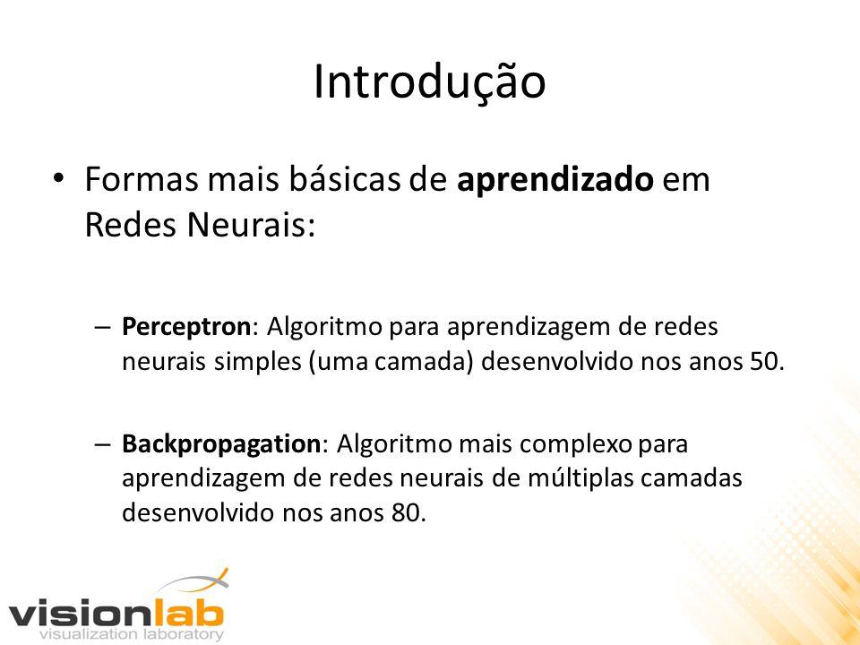 Introdução Formas mais básicas de aprendizado em Redes Neurais: – Perceptron: Algoritmo para aprendizagem de redes neurais simples (uma camada) desenv