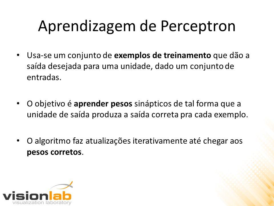 Aprendizagem de Perceptron Usa-se um conjunto de exemplos de treinamento que dão a saída desejada para uma unidade, dado um conjunto de entradas. O ob