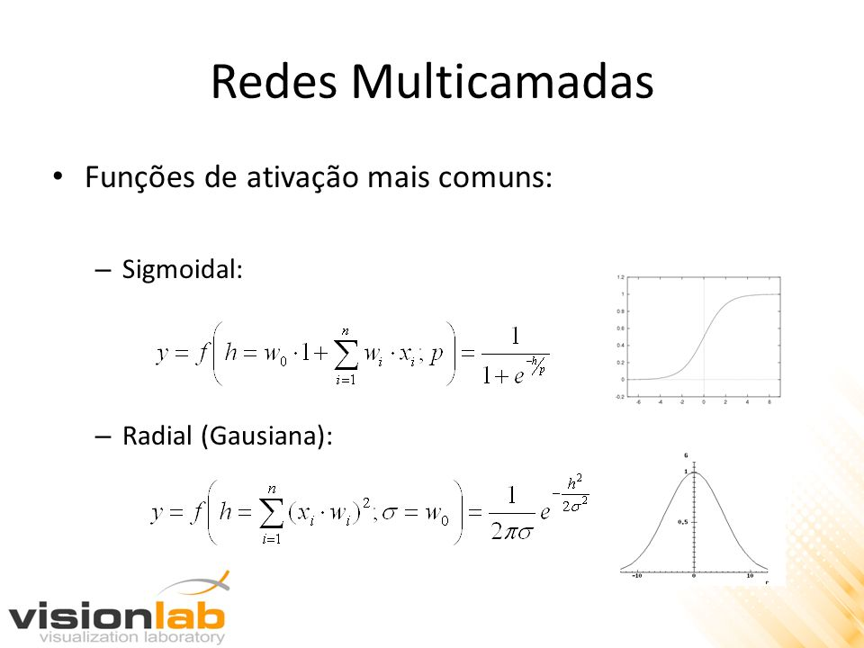 Redes Multicamadas Funções de ativação mais comuns: – Sigmoidal: – Radial (Gausiana):