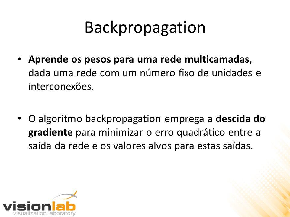 Backpropagation Aprende os pesos para uma rede multicamadas, dada uma rede com um número fixo de unidades e interconexões. O algoritmo backpropagation