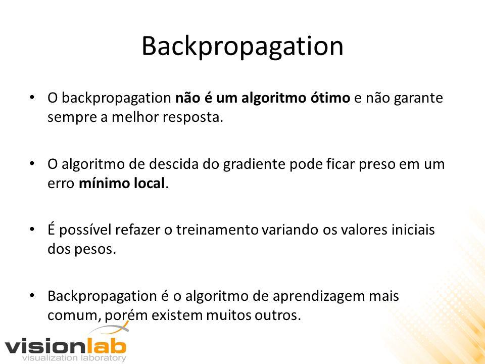 Backpropagation O backpropagation não é um algoritmo ótimo e não garante sempre a melhor resposta. O algoritmo de descida do gradiente pode ficar pres