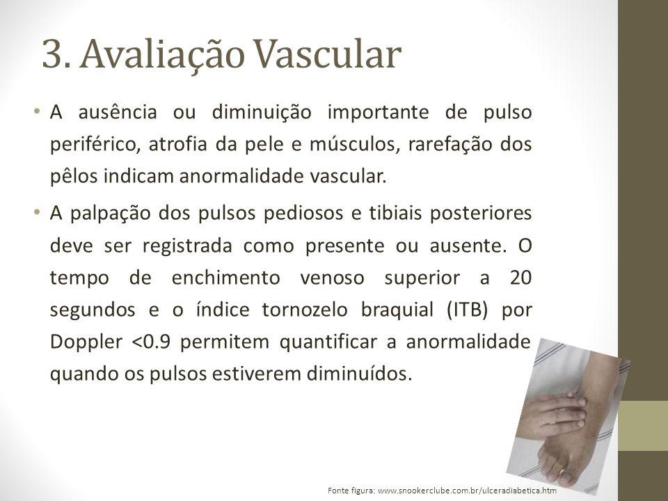 3. Avaliação Vascular A ausência ou diminuição importante de pulso periférico, atrofia da pele e músculos, rarefação dos pêlos indicam anormalidade va