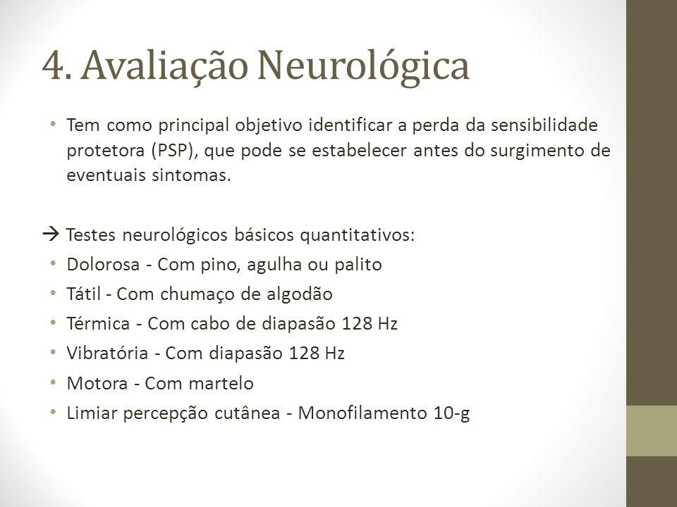 4. Avaliação Neurológica Tem como principal objetivo identificar a perda da sensibilidade protetora (PSP), que pode se estabelecer antes do surgimento