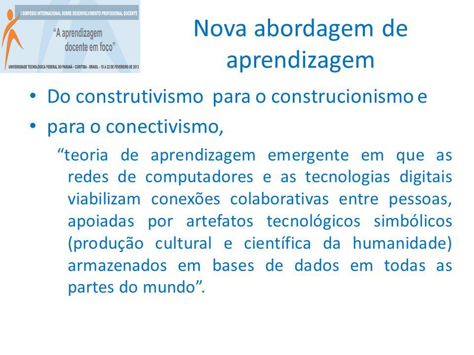 Nova abordagem de aprendizagem Do construtivismo para o construcionismo e para o conectivismo, teoria de aprendizagem emergente em que as redes de com