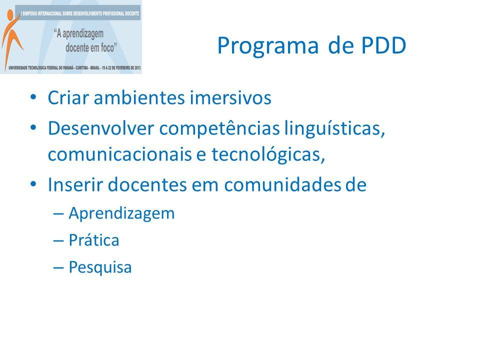 Programa de PDD Criar ambientes imersivos Desenvolver competências linguísticas, comunicacionais e tecnológicas, Inserir docentes em comunidades de –
