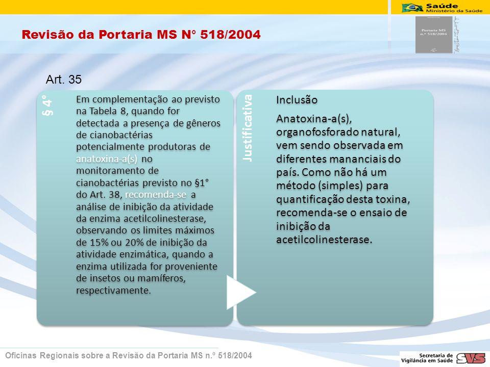 Revisão da Portaria MS N° 518/2004 Oficinas Regionais sobre a Revisão da Portaria MS n.º 518/2004 § 4° Em complementação ao previsto na Tabela 8, quando for detectada a presença de gêneros de cianobactérias potencialmente produtoras de anatoxina-a(s) no monitoramento de cianobactérias previsto no §1° do Art.
