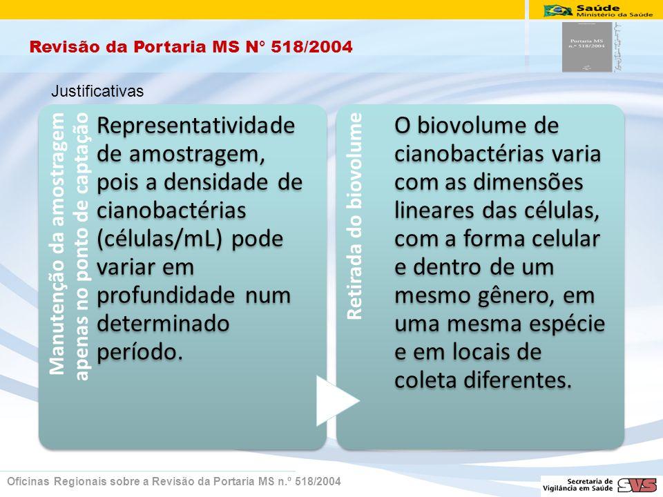 Revisão da Portaria MS N° 518/2004 Oficinas Regionais sobre a Revisão da Portaria MS n.º 518/2004 Manutenção da amostragem apenas no ponto de captação Representatividade de amostragem, pois a densidade de cianobactérias (células/mL) pode variar em profundidade num determinado período.