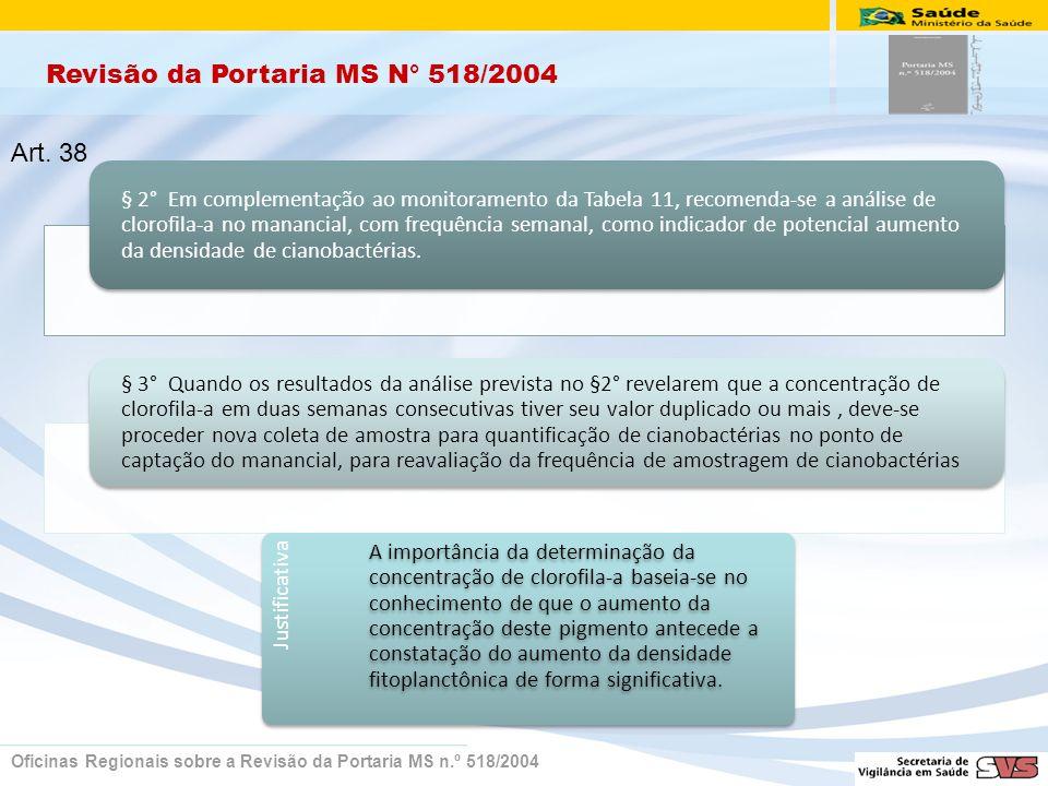 Revisão da Portaria MS N° 518/2004 Oficinas Regionais sobre a Revisão da Portaria MS n.º 518/2004 § 2° Em complementação ao monitoramento da Tabela 11, recomenda-se a análise de clorofila-a no manancial, com frequência semanal, como indicador de potencial aumento da densidade de cianobactérias.