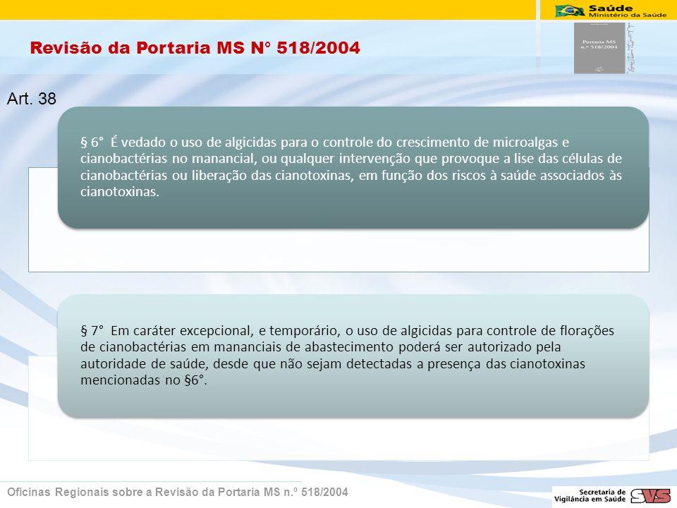 Revisão da Portaria MS N° 518/2004 Oficinas Regionais sobre a Revisão da Portaria MS n.º 518/2004 § 6° É vedado o uso de algicidas para o controle do