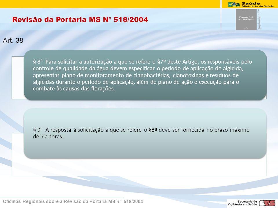 Revisão da Portaria MS N° 518/2004 Oficinas Regionais sobre a Revisão da Portaria MS n.º 518/2004 § 8° Para solicitar a autorização a que se refere o