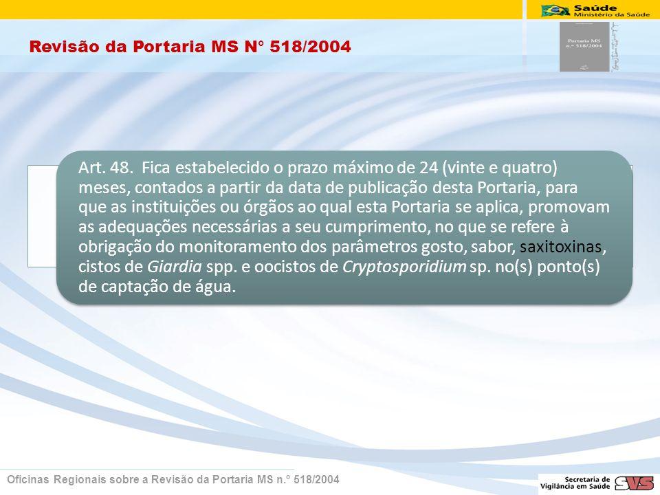 Revisão da Portaria MS N° 518/2004 Oficinas Regionais sobre a Revisão da Portaria MS n.º 518/2004 Art. 48. Fica estabelecido o prazo máximo de 24 (vin