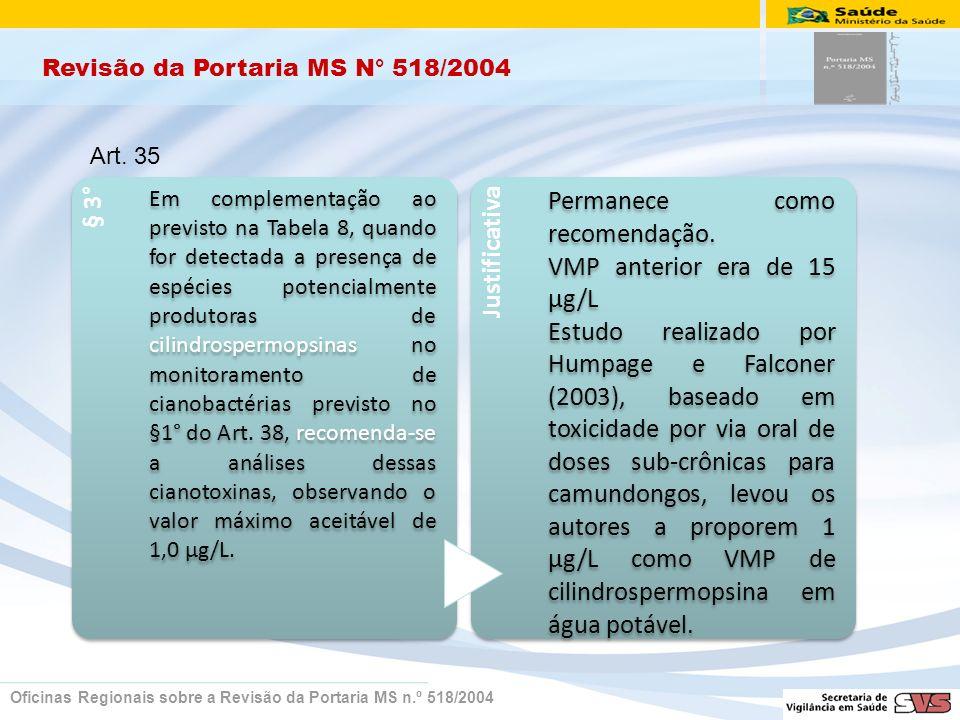 Revisão da Portaria MS N° 518/2004 Oficinas Regionais sobre a Revisão da Portaria MS n.º 518/2004 § 3° Em complementação ao previsto na Tabela 8, quando for detectada a presença de espécies potencialmente produtoras de cilindrospermopsinas no monitoramento de cianobactérias previsto no §1° do Art.