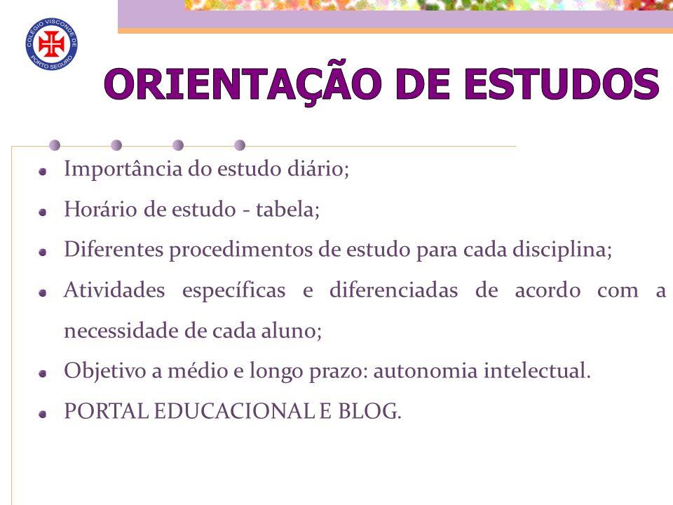 Importância do estudo diário; Horário de estudo - tabela; Diferentes procedimentos de estudo para cada disciplina; Atividades específicas e diferencia