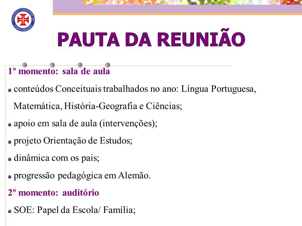 1º momento: sala de aula conteúdos Conceituais trabalhados no ano: Língua Portuguesa, Matemática, História-Geografia e Ciências; apoio em sala de aula