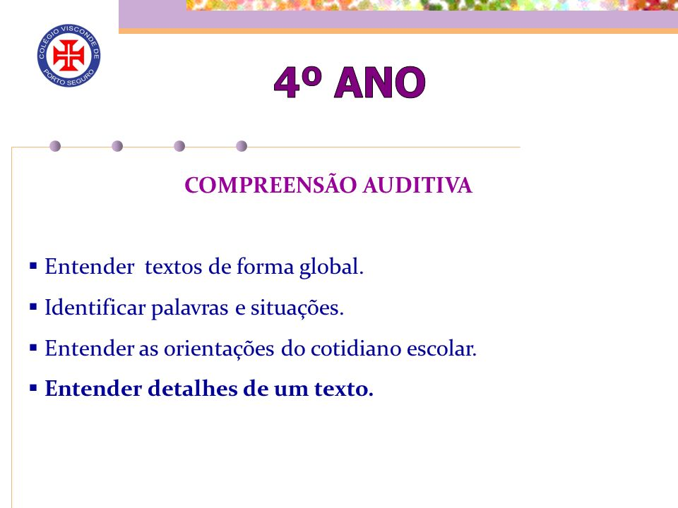 COMPREENSÃO AUDITIVA Entender textos de forma global.