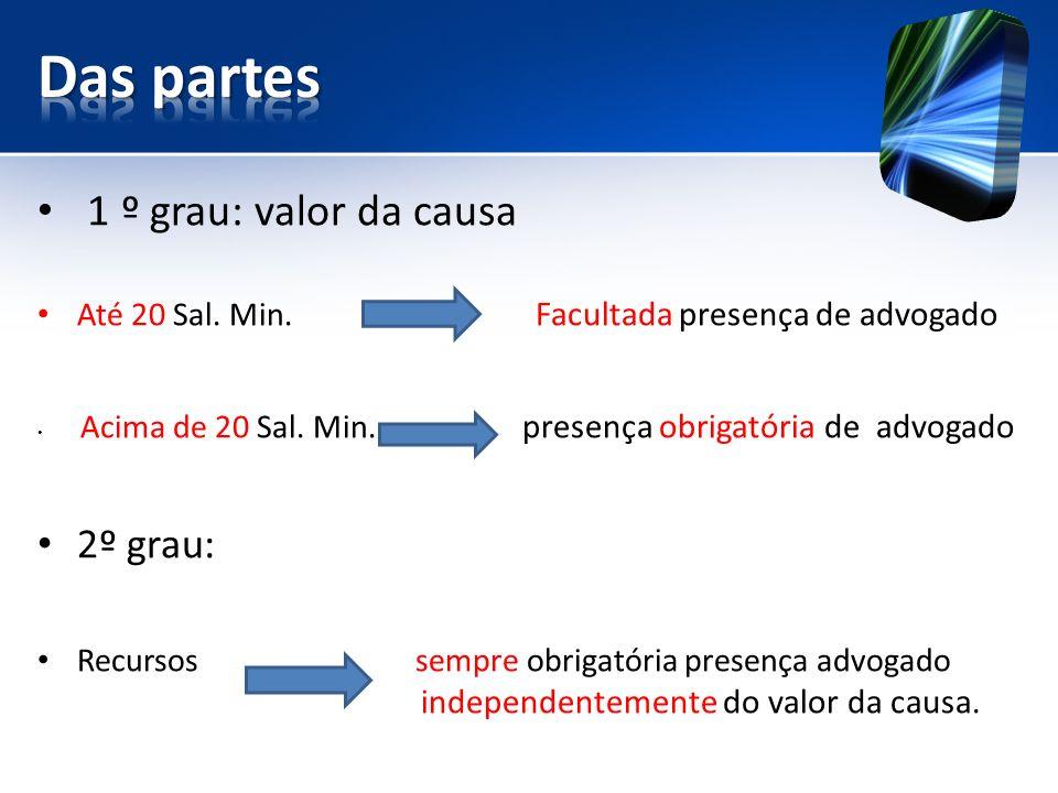 1 º grau: valor da causa Até 20 Sal.Min. Facultada presença de advogado Acima de 20 Sal.