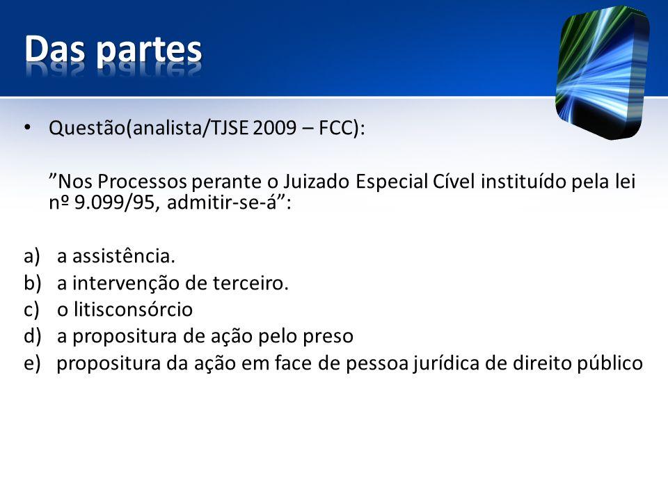 Questão(analista/TJSE 2009 – FCC): Nos Processos perante o Juizado Especial Cível instituído pela lei nº 9.099/95, admitir-se-á: a)a assistência.