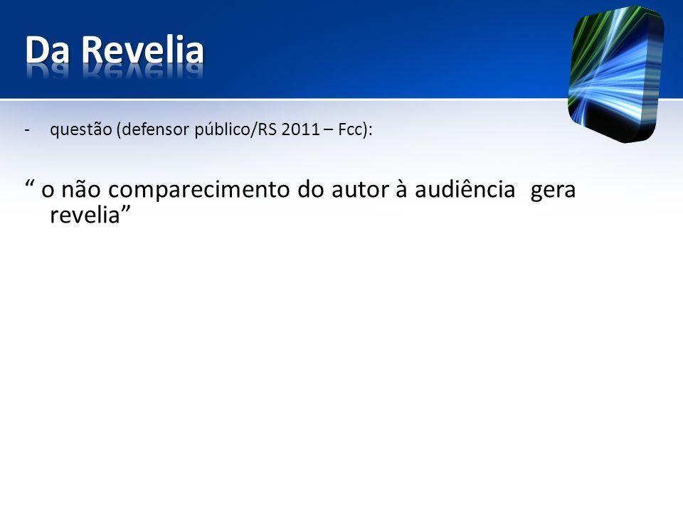 -questão (defensor público/RS 2011 – Fcc): o não comparecimento do autor à audiência gera revelia