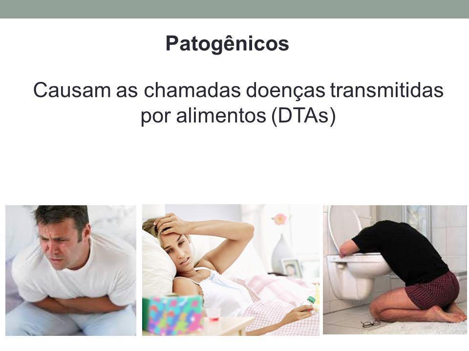 Causam as chamadas doenças transmitidas por alimentos (DTAs) Patogênicos