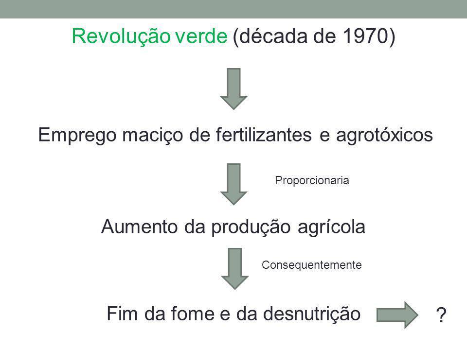 Revolução verde (década de 1970) Emprego maciço de fertilizantes e agrotóxicos Aumento da produção agrícola Fim da fome e da desnutrição Proporcionari