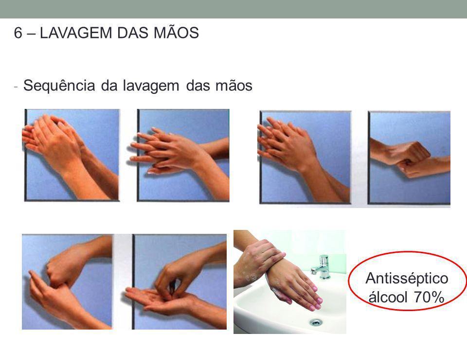 6 – LAVAGEM DAS MÃOS - Sequência da lavagem das mãos Antisséptico álcool 70%