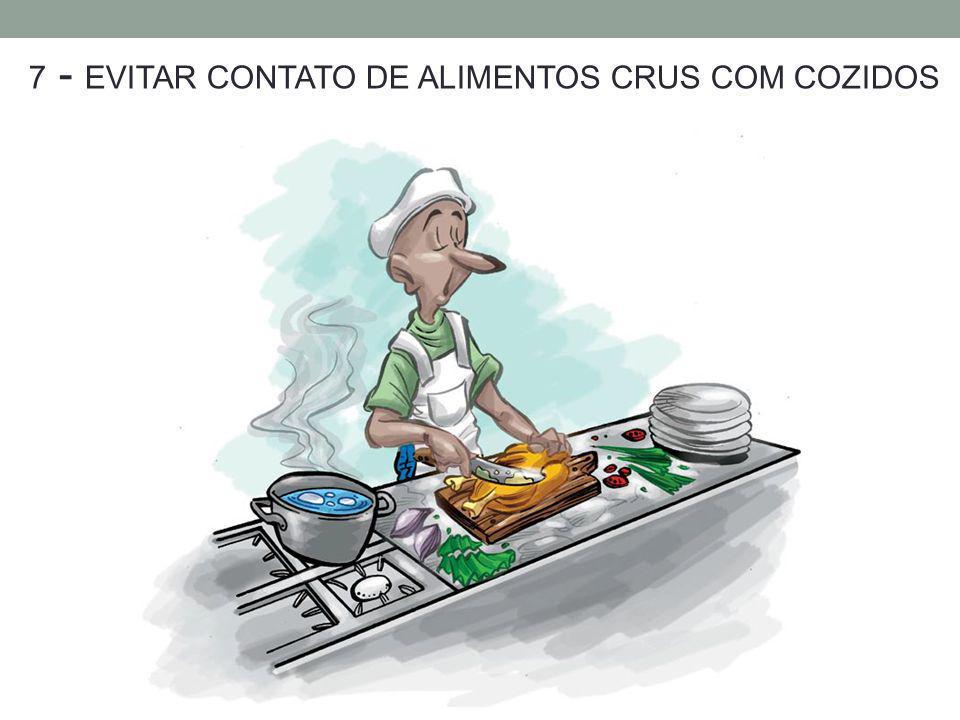 7 - EVITAR CONTATO DE ALIMENTOS CRUS COM COZIDOS